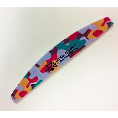 Global Fashion, Пилка для искусственных ногтей разноцветная, полукруглая, 100/180