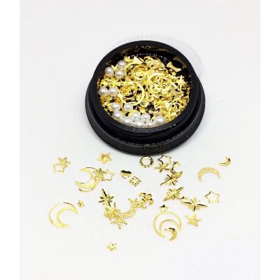 Дизайн для ногтей — жемчуг + золото металл