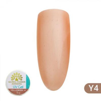 Global Fashion, Гель для наращивания ногтей, камуфляж-4, Yellowish-4, 15 гр