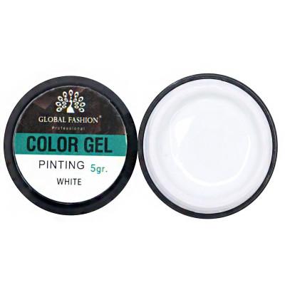 Global Fashion, Гель краска с липким слоем белый, 5 гр