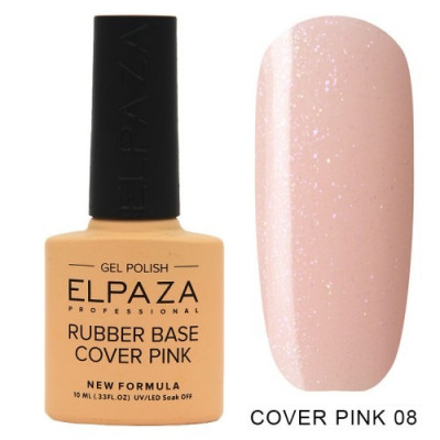 Elpaza, Камуфлирующая база, Rubber Base Cover Pink №08, 10 мл