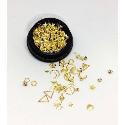 Дизайн для ногтей — золото металл