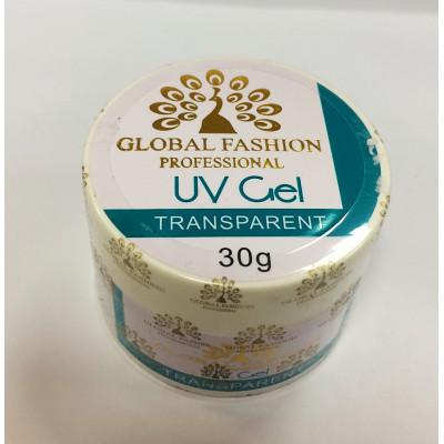 Global Fashion, Гель для наращивания ногтей, прозрачный, Clear, 30 гр