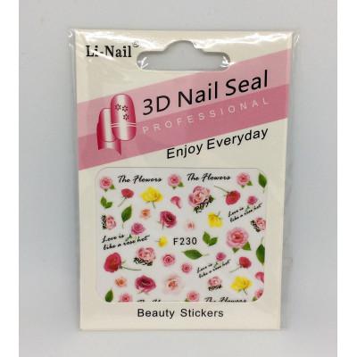 3D Nail Seal, Наклейки для объемного дизайна ногтей, F230